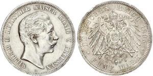 5 Mark Kingdom of Prussia (1701-1918) Silver Wilhelm II, German Emperor (1859-1941)