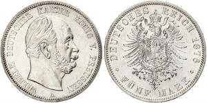 5 Mark Kingdom of Prussia (1701-1918) Silver Wilhelm I, German Emperor (1797-1888)