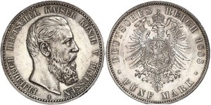 5 Mark Kingdom of Prussia (1701-1918) Silver Frederick III, German Emperor (1831-1888)