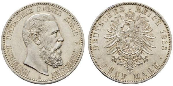 5 Mark Kingdom of Prussia (1701-1918) Silver Frederick III, German Emperor (1831-1888)