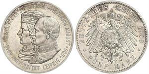 5 Mark Kingdom of Saxony (1806 - 1918) Silver Frederick Augustus III of Saxony (1865-1932)