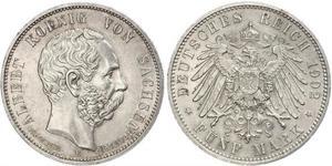 5 Mark Kingdom of Saxony (1806 - 1918) Silver Albert of Saxony