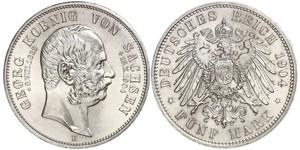 5 Mark Kingdom of Saxony (1806 - 1918) Silver George, King of Saxony
