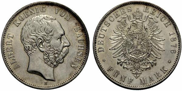 5 Mark Kingdom of Saxony (1806 - 1918) Silver Albert of Saxony