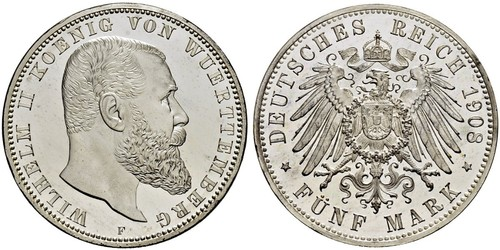 5 Mark Kingdom of Württemberg (1806-1918) Silver Wilhelm II, German Emperor (1859-1941)