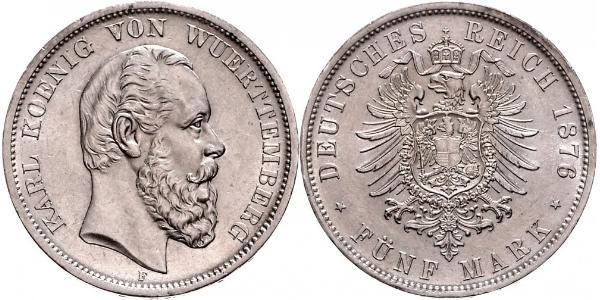 5 Mark Kingdom of Württemberg (1806-1918) Silver Charles I of Württemberg
