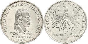5 Mark West Germany (1949-1990) Silver Friedrich Schiller