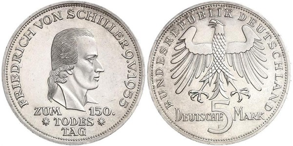 5 Mark West Germany (1949-1990) Silver Friedrich Schiller