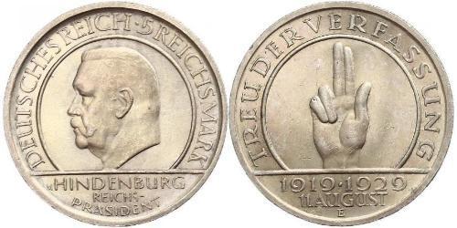 5 Mark / 5 Reichsmark 魏瑪共和國 (1919 - 1933) 銀 保罗·冯·兴登堡 (1847 - 1934)