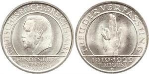 5 Mark / 5 Reichsmark République de Weimar (1918-1933) Argent Paul von Hindenburg