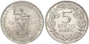 5 Mark / 5 Reichsmark République de Weimar (1918-1933) Argent