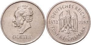 5 Mark / 5 Reichsmark Repubblica di Weimar (1918-1933) Argento