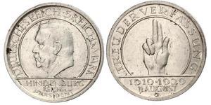 5 Mark / 5 Reichsmark Repubblica di Weimar (1918-1933) Argento Paul von Hindenburg
