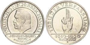 5 Mark / 5 Reichsmark República de Weimar (1918-1933) Plata Paul von Hindenburg