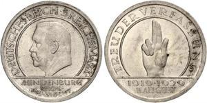 5 Mark / 5 Reichsmark Weimarer Republik (1918-1933) Silber Paul von Hindenburg