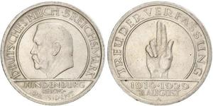 5 Mark / 5 Reichsmark Weimar Republic (1918-1933) Silver Paul von Hindenburg