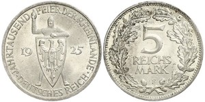 5 Mark / 5 Reichsmark Weimar Republic (1918-1933) Silver