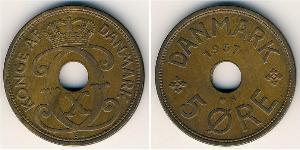 5 Ore 丹麦 青铜 克里斯蒂安十世 (1870 - 1947)