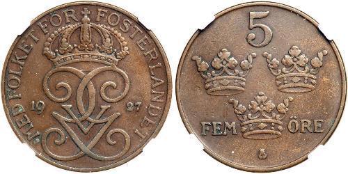 5 Ore Svezia Acciaio/Bronzo Gustavo V di Svezia (1858 - 1950)