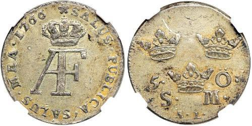 5 Ore Suède Argent Adolf Frederick of Sweden (1710 - 1771)
