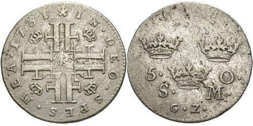 5 Ore Schweden Billon Silber Friedrich (Schweden) (1676 -1751)