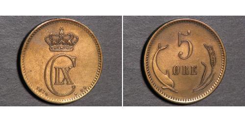 5 Ore Denmark Copper Christian IX of Denmark (1818-1906)