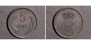 5 Ore Danimarca Rame Cristiano IX di Danimarca (1818-1906)