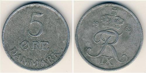 5 Ore 丹麦 Zinc 弗雷德里克九世 (1899 - 1972)
