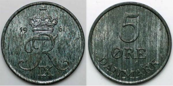 5 Ore Denmark Zinc Frederick IX of Denmark (1899 - 1972)