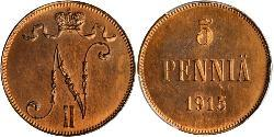 5 Penny Grand Duchy of Finland (1809 - 1917) Copper Nicholas II (1868-1918)