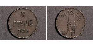 5 Penny Grand Duchy of Finland (1809 - 1917) Copper Nicholas II (1868-1918)
