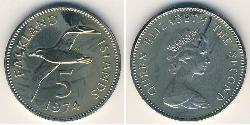 5 Penny Falkland Islands Copper/Nickel Elizabeth II (1926-)