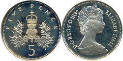 5 Penny United Kingdom (1922-) Copper/Nickel Elizabeth II (1926-)