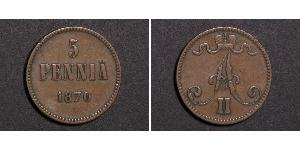 5 Penny Grand Duchy of Finland (1809 - 1917)  Alexander II of Russia (1818-1881)