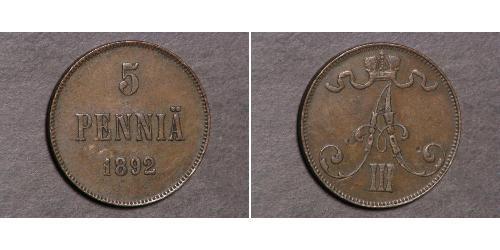 5 Penny Grand Duchy of Finland (1809 - 1917)  Alexander III (1845 -1894)