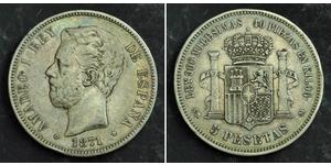 5 Peseta Kingdom of Spain (1814 - 1873) 銀 阿玛迪奥一世 (西班牙)  (1845 - 1890)