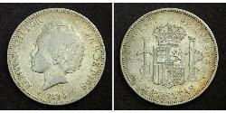 5 Peseta Kingdom of Spain (1874 - 1931) 銀 阿方索十三世 (1886 - 1941)