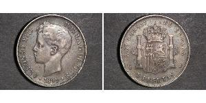 5 Peseta Kingdom of Spain (1874 - 1931) 銀