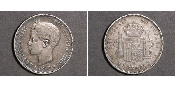 5 Peseta Kingdom of Spain (1874 - 1931) 銀