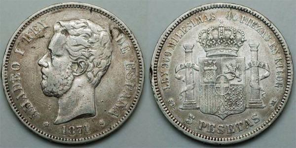 5 Peseta Kingdom of Spain (1814 - 1873) Argent Amédée Ier (roi d
