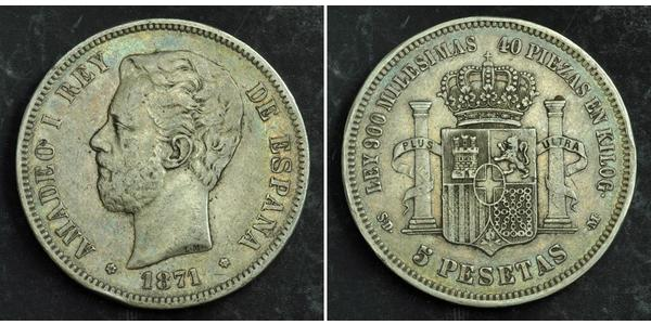 5 Peseta Kingdom of Spain (1814 - 1873) Argent Amédée Ier (roi d