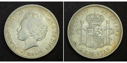 5 Peseta Kingdom of Spain (1874 - 1931) Argent Alfonso XIII of Spain (1886 - 1941)