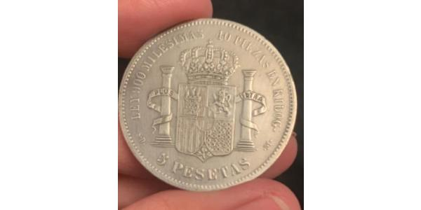 5 Peseta Kingdom of Spain (1814 - 1873) Argento Amedeo I di Spagna  (1845 - 1890)
