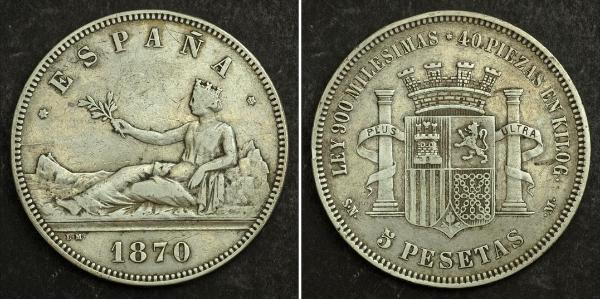 5 Peseta Prima repubblica spagnola (1873 - 1874) Argento