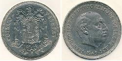 5 Peseta Francoist Spain (1936 - 1975) Nickel Francisco Franco (1892 – 1975)