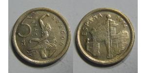 5 Peseta Kingdom of Spain (1976 - ) Brass/Nickel Juan Carlos I of Spain (1938 - )