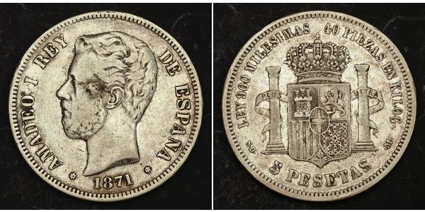 5 Peseta Kingdom of Spain (1814 - 1873) Plata Amadeo I de España  (1845 - 1890)