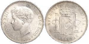 5 Peseta Kingdom of Spain (1874 - 1931) Plata