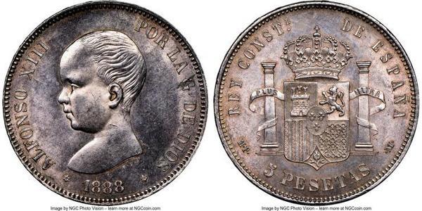 5 Peseta Kingdom of Spain (1874 - 1931) Plata Alfonso XIII of Spain (1886 - 1941)