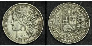5 Peseta Perú Plata
